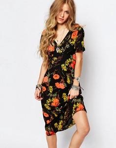 Чайное платье с маками Glamorous - Мульти