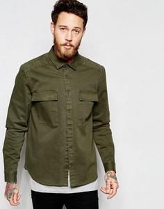 Рубашка навыпуск цвета хаки в стиле милитари с длинными рукавами ASOS - Зеленый