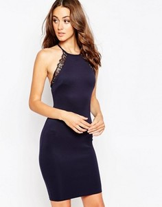 Платье миди с кружевной отделкой Sistaglam Arelie - Темно-синий