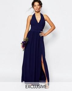 Шифоновое платье макси с завязкой на шее TFNC WEDDING - Темно-синий