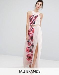 Платье макси с перекрестным передом, цветочным принтом и поясом Little Mistress Tall - Мульти