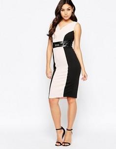 Платье-футляр с контрастными вставками Amy Childs Valentina - Розовый