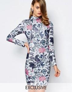 Короткое платье-футляр с воротником-стойкой и птичьим принтом True Violet - Мульти