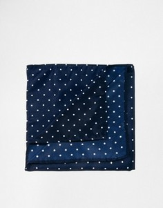 Платок для нагрудного кармана в горошек ASOS - Темно-синий