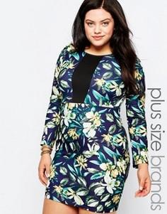 Платье-футляр с цветочным принтом и контрастной вставкой Praslin Plus - Мульти