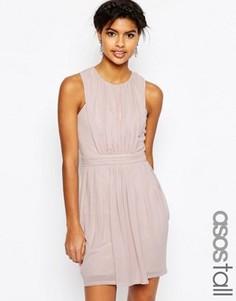 Сетчатое платье-тюльпан мини со складками ASOS TALL - Розовый
