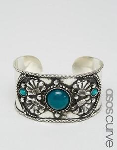 Широкий браслет-манжета с камнями и гравировкой ASOS CURVE - Мульти
