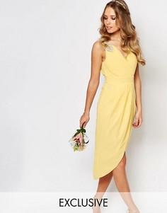 Платье миди с запахом и отделкой TFNC WEDDING - Желтый