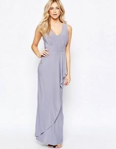 Платье макси с драпировкой Love - Серый