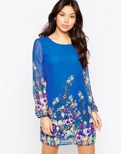 Цельнокройное платье с длинными рукавами и принтом Yumi - Синий