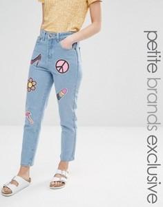 Джинсы в винтажном стиле с накладками из пайеток Liquor & Poker Petite - Синий
