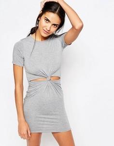 Облегающее платье с вырезом на талии Missguided - Серый