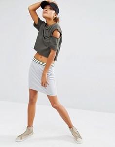 Трикотажная облегающая юбка с поясом в полоску Daisy Street - Серый