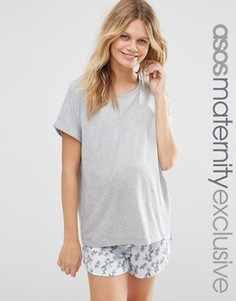 Пижамная футболка и шорты с цветочным принтом для беременных ASOS Maternity - Мульти