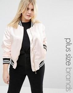 Атласная куртка‑пилот в университетском стиле Boohoo Plus - Бежевый