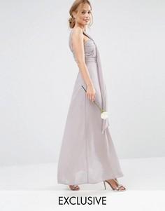 Платье макси на одно плечо TFNC WEDDING - Серый