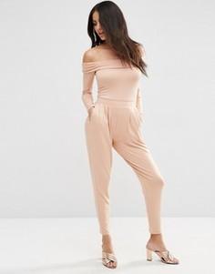 Комбинезон с длинными рукавами и широкими штанинами со складками ASOS - Бежевый
