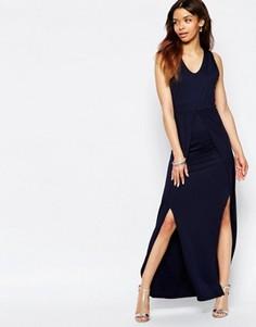 Платье макси с боковыми разрезами Wal G - Темно-синий