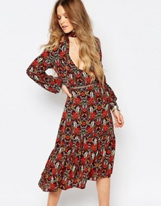 Платье миди с длинными рукавами и принтом Glamorous - Мульти