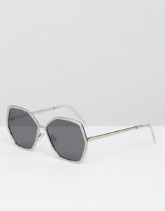 Серебристые блестящие солнцезащитные очки в стиле 70‑х ASOS - Мульти