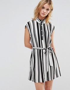 Платье-рубашка в полоску Style London - Черный