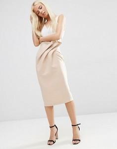 Фактурная юбка-карандаш с поясом ASOS - Бежевый