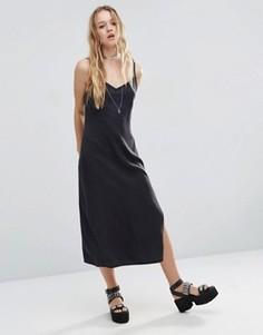 Черное выбеленное джинсовое платье‑сорочка с разрезами ASOS - Черный