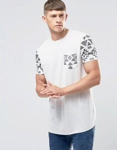 Длинная футболка с ацтекским принтом на рукавах и кармане ASOS - Белый