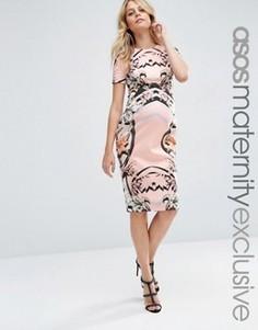 Платье-футляр для беременных с цветочным принтом ASOS Maternity - Мульти