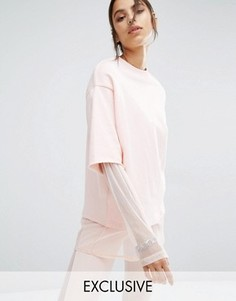 Двухслойный свитшот с круглым вырезом Bones - Розовый