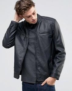 Байкерская куртка из перфорированной искусственной кожи Brave Soul - Черный