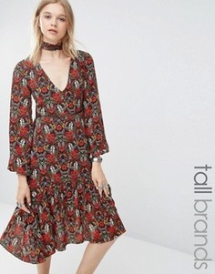 Платье миди с цветочным принтом Glamorous Tall - Мульти