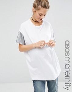 Футболка для беременных с пайетками на рукавах ASOS Maternity - Белый