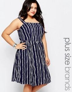 Короткое приталенное платье в полоску Lovedrobe Plus - Темно-синий
