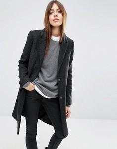 Пальто узкого кроя с добавлением шерсти с карманами ASOS - Черный