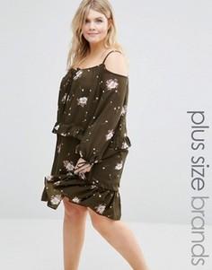 Платье с цветочным принтом и рюшами Alice & You - Зеленый