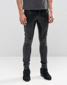 Ультразауженные черные джинсы скинни из искусственной кожи ASOS - Черный