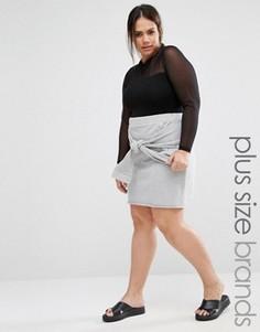Трикотажная юбка в стиле casual с узлом спереди Pink Clove - Серый