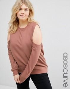 Свитшот с открытыми плечами ASOS CURVE - Розовый