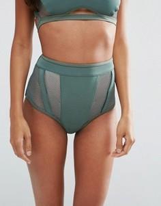 Неопреновые плавки бикини с завышенной талией и сеточкой ASOS - Зеленый