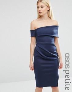 Платье миди на одно плечо с запахом на юбке и молнией ASOS PETITE - Мульти