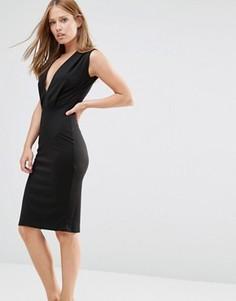 Платье-футляр длины миди с V-образным вырезом Alter - Черный