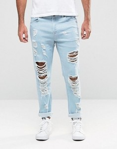 Выбеленные зауженные джинсы Hoxton Denim - Синий