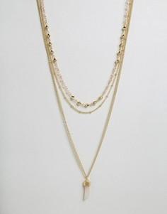 Ярусное ожерелье с коралловым камнем Ashiana - Золотой