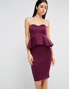 Платье миди в стиле бандо с баской AX Paris - Фиолетовый