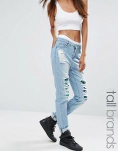Рваные джинсы бойфренда с пайетками Liquor & Poker Tall - Синий