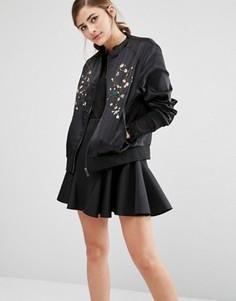 Атласная куртка‑пилот с вышивкой Fashion Union - Черный
