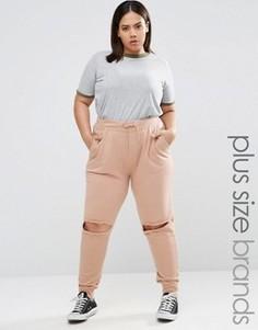 Спортивные штаны с прорехами на коленях Missguided Plus - Бежевый
