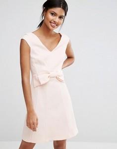 Жаккардовое платье мини с бантом Coast Mayra - Розовый