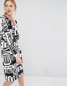 Трикотажное платье с длинными рукавами и принтом Dr Denim - Мульти